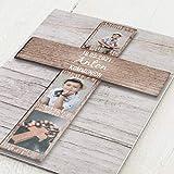sendmoments Kommunion Einladungskarten, Großes Holzkreuz, Einladung 5er Klappkarten-Set C6, personalisiert mit Text & Fotos, wahlweise mit passenden Umschlägen im gleichen Design