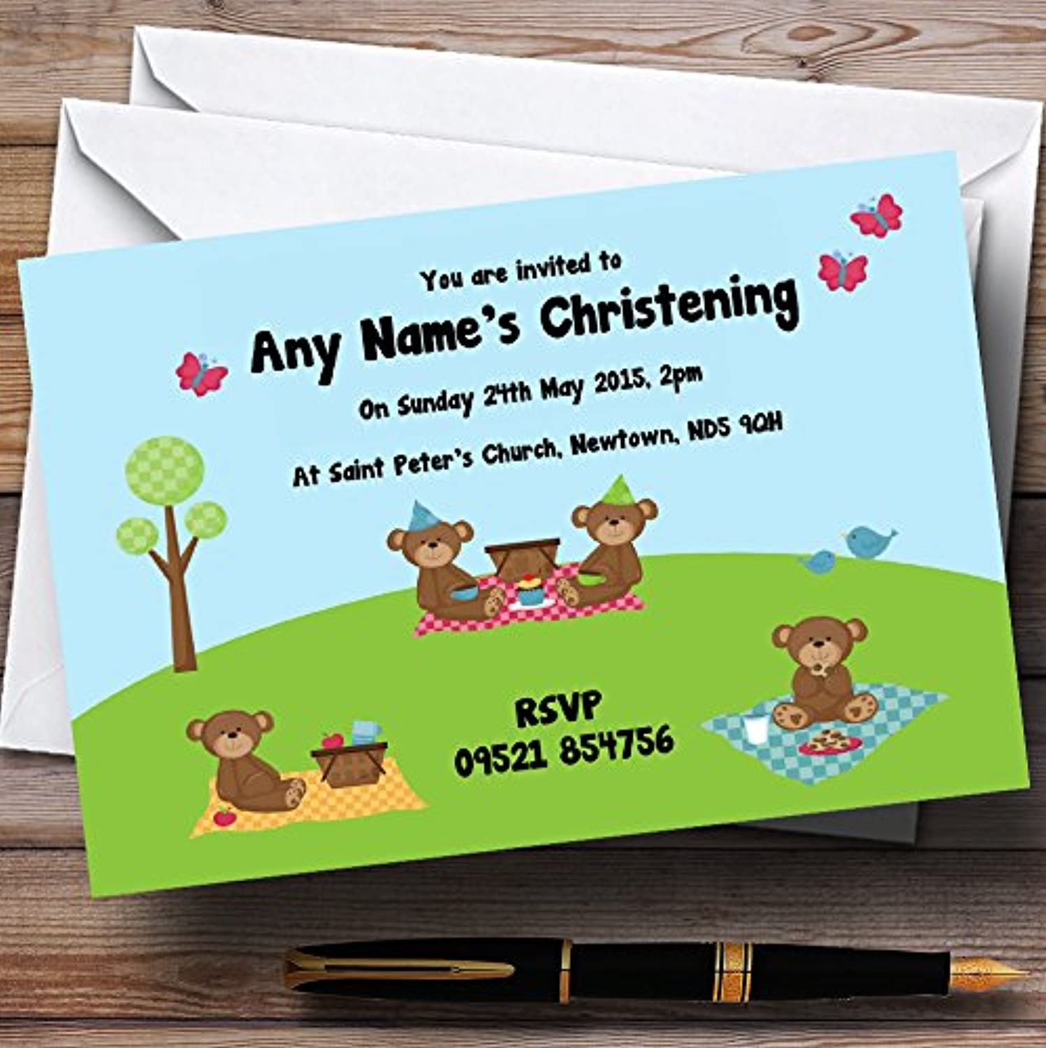 Picnic Teddy Bears Christening Party Personalised Invitations   Invites & Envelopes