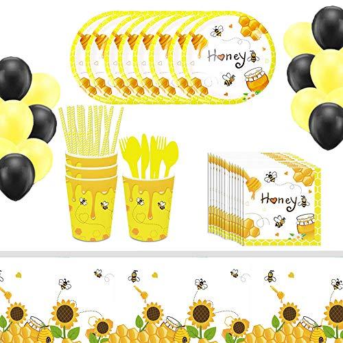 Set Vajilla de Fiesta, 106 Piezas Vajilla de Fiesta de Cumpleaños, Artículos de Fiesta Juego Vajilla, Creativo Patrón Abeja Papel Suministros para Fiestas Para Cumpleaños Niños