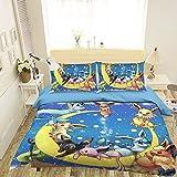 AJ WALLPAPER - Juego de funda nórdica 3D para Pokemon Pikachu 390 Japan Anime Game Bedding Juego de funda de edredón individual Queen King   Ropa de cama con foto 3D UK Lucie, poliéster, matrimonio