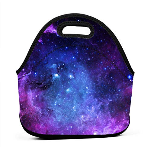 Neoprene Blue Purple Galaxy Portable Lunch Bag Carry Case Tote with Zipper Strap Box Container Bags Picnic Outdoor Travel Fashionable Handbag Pouch for Women Men Kids Girls