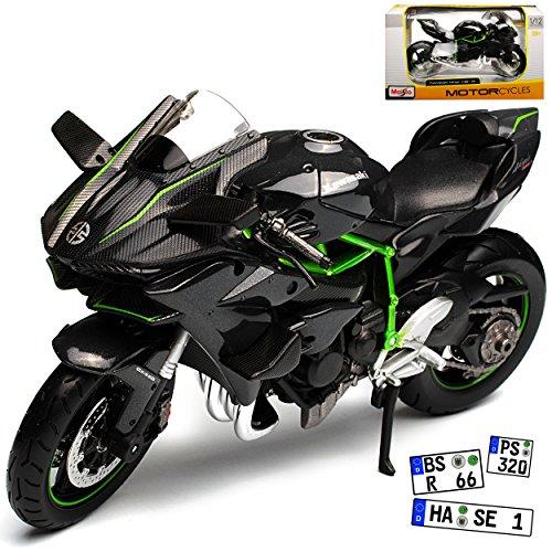 Maisto Kawasaki Ninja H2R Karbon Schwarz Ab 2014 1/12 Modell Motorrad mit individiuellem Wunschkennzeichen