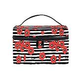 Emoya - Neceser con asa para mujer, diseño de amapolas rojas, color negro y blanco