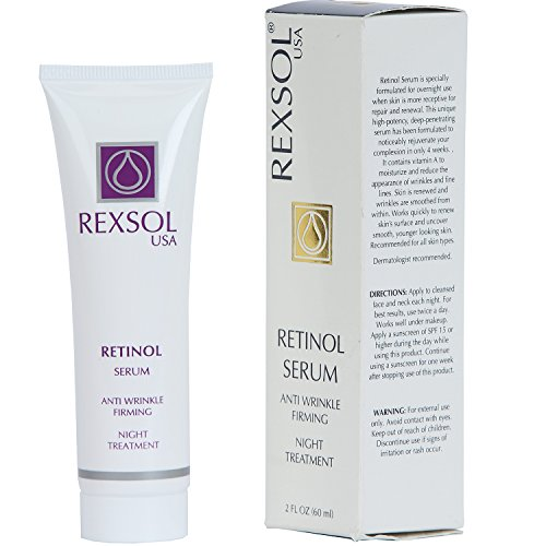 REXSOL Retinol Serum Anti wrinkle Firming | Best antioxidant serum for face | Pure Vitamin C for face, Pure Retinol Vitamin Serum | Utmost Anti Wrinkle Serum for Deep Wrinkle Treatment (2 FL OZ)
