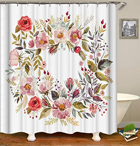 Maldekoration Handgemalt, Viele Blumen Bilden Sie Eine R&e Girlande.Duschvorhang Wasserdicht Mildewproof Leicht Zu Reinigen 180X180Cm.