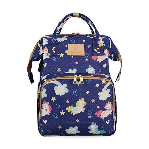 TFTREE Wickeltasche Rucksack, Multifunktionsreisetasche für Mädchen große Babywickeltasche Hängender Kinderwagen Mit USB-Ladeanschluss Isolierfach-blue