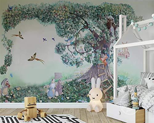 BHXIAOBAOZI behang, fotobehang, jongens meisjes kamer wallpaper hand Big Tree konijntje eekhoorntje vogel kind slaapkamer achtergrond muurschildering 3D wallpaper gemaakt 480cm(W)×290cm(H)