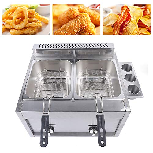 Stainless Steel Gas Deep Fryer French Fries Chicken Fried Commercial Food Fry Pan Suitable for Restaurant Kitchen, 6L * 2 Basket Capacity,18000Btu / hr