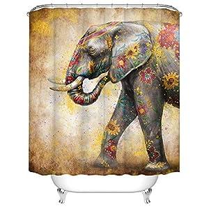 "Elephant Shower Curtain Fabric Wild Animal with Flowers Bath Curtain Vintage Bathroom Decor with Hooks 72""×72"" Gold Grey"
