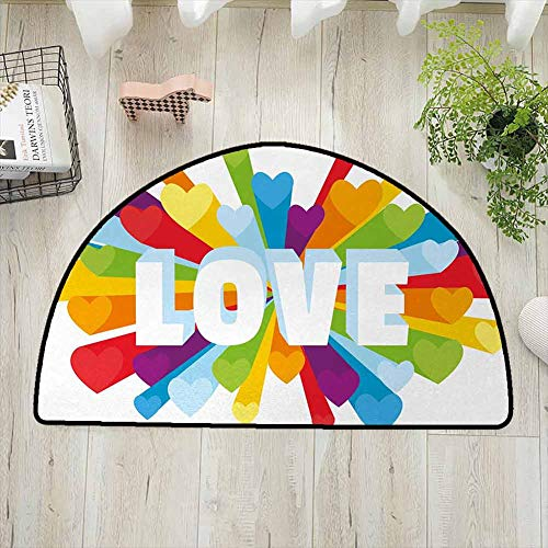 Pride Non-Slip Soft Porch Door Floor Mat, Love Valentines Theme Burst with Cute Little Colorful Hearts Word LGBT Gay Lesbian Printed Door Mat for Front Door Home Office Kitchen Entrance Mat