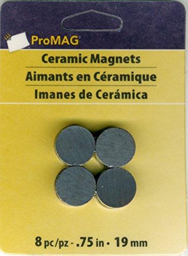 ProMag Ímã redondo de cerâmica AFG12507, 0,75 polegadas, pacote com 8