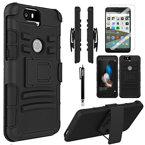 Nexus 6P Case, Circle [Heavy Duty] Combo Rugged Shell Cover Holster with Built-in Kickstand and Holster Locking Belt Clip + Circle(TM) Stylus Touch Screen Pen and Screen Protector Black