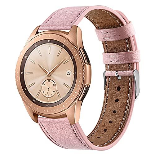 Correa de Cuero Compatible con Huawei Watch GT/GT2 42mm/Samsung Galaxy Watch Active 2/Galaxy Watch 42mm Banda de Reloj de Piel Liberación Rápida para Hombre y Mujer-Rosado