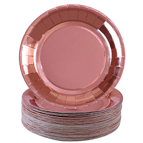 Aneco 60 Pieces Rose Gold Foil Paper Plates Round Disposable Paper Plates for Party, Wedding Supplies
