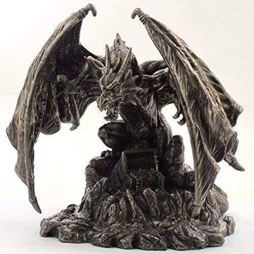 Drachen-Figur mit Schatzkiste; aus Bronze