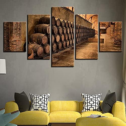 QQWW 5 Piezas Cuadro sobre Lienzo- Chateau del Barril de Vino Impresión Artística Imagen Gráfica-5 Piezas-Impresión en Lienzo Listo para Colgar-en un Marco,Moderna decoración del hogar