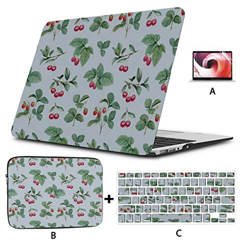 Macbook 13 Case Christmas Holly With Red Berries Decoration Mac Pro Cover Hard Shell Mac Air 11'/13' Pro 13'/15'/16' With Notebook Sleeve Bag For Macbook 2008-2020 Version
