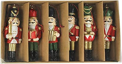 Enfeites de Natal, kaxue 6 unidades Conjunto de enfeites pendurados para árvore de Natal Resina Quebra-nozes Nórdica Estat...