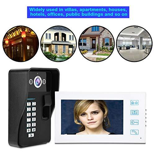 Video Türsprechanlage Türklingel Intercom System, Fingerabdruck Passwort Nachtsicht Video Gegensprechanlage Smart Doorbell, 7 Zoll(Mit ID Keyfobs)