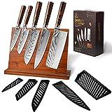 oxxow-DAMASTMESSER SET-Sechs teiliges set kochmesser Profi Messer-Damastmesser set mit Messerblock-Damast küchenmesser aus 67 Lagen-Japanisches Messer set mit Pakkholzgriffen