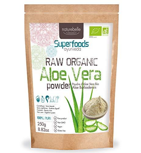 Bio-Aloe Vera-Pulver Naturebelle - Aloe Barbadensis Pulver - Zertifizierter Bio-Anbau - rohes Bio-Aloe Vera-Pulver -100% rein - Vegan