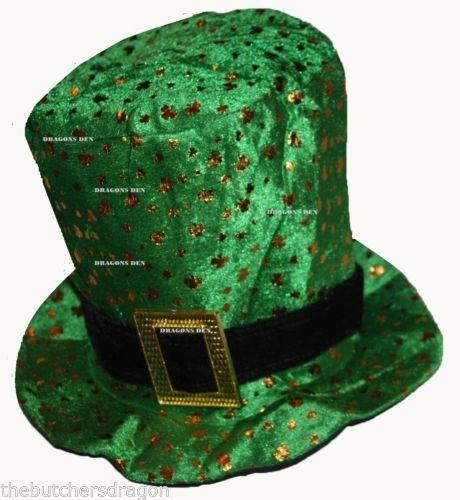 The Dragons Den - Accessoire de déguisement barbe et chapeau de la Saint Patrick - Taille unique, Chapeau trèfle