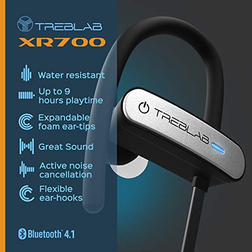 TREBLAB XR800 Bluetooth Headphones, Best Wireless Earbuds For Sports, Running Or Gym Workouts. 2018 Best Model. IPX7 Waterproof, Sweatproof, Secure-Fit. Noise-Cancelling Earphones w/ Mic (White) 4