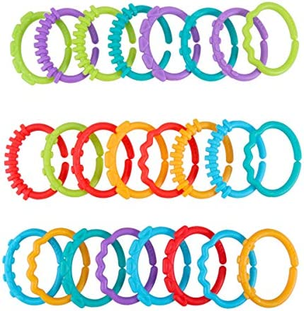 TOYANDONA 24pcs Baby Teething Rings Links Toys Teething Tube for Baby Infant Newborn Car Seat product image