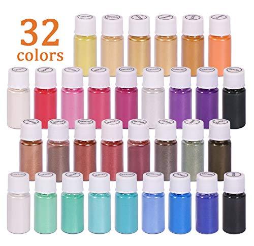 DEWEL 32er Epoxidharz Farbe, 5ml Seifenfarbe Set Pigment Mica Pulver Glitter für Kunstharz...