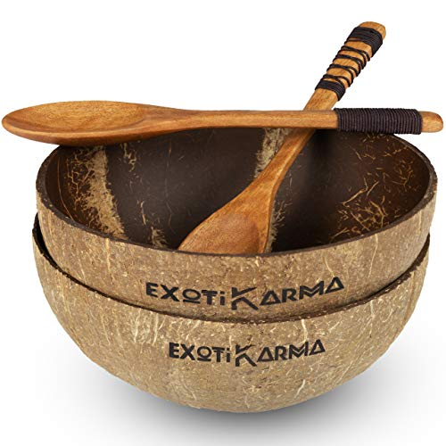 Pack de 2 tazones de coco reciclados + 2 cucharas exóticas de madera, cero desechos, vegano, para un desayuno sano,...