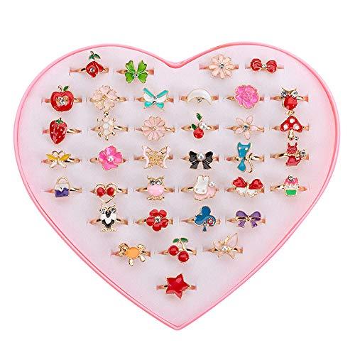 36 piezas Anillos para niña, Anillos Niña Juguete anillos de dedo de colores ajustables Princesa Joyería Anillos de dedo con forma de corazón Caja para niños Favores de la fiesta de cumpleaños
