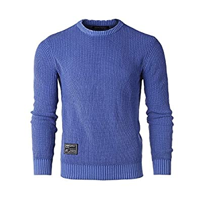 Men's Classic Vintage Color Wash Ribbed Crew Neck Pullover Casual Sweater