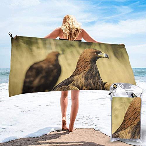 Toalla de Playa 27.5 'X 55',Golden Eagle Ultra Soft Sand Microfibra Portátil Absorbente de Agua Multifibra sin Arena Toalla de Playa Manta