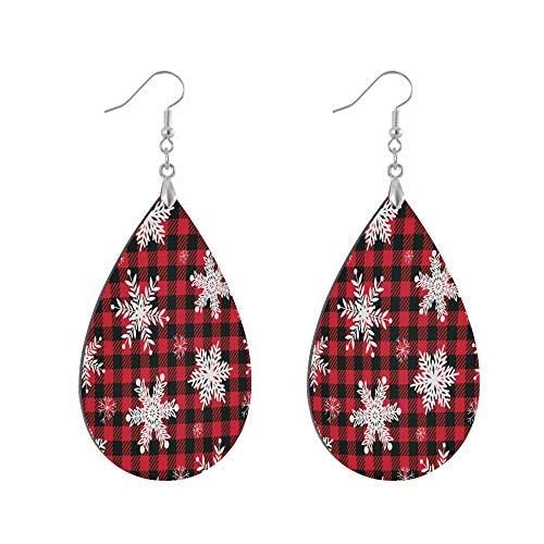 ADMustwin Wooden Earrings Christmas Snowflake Lattice Pattern for Women Girls Silver Plated Copper Earrings Teardrop Earrings Lightweight Dangle Earrings Fashion Jewelry