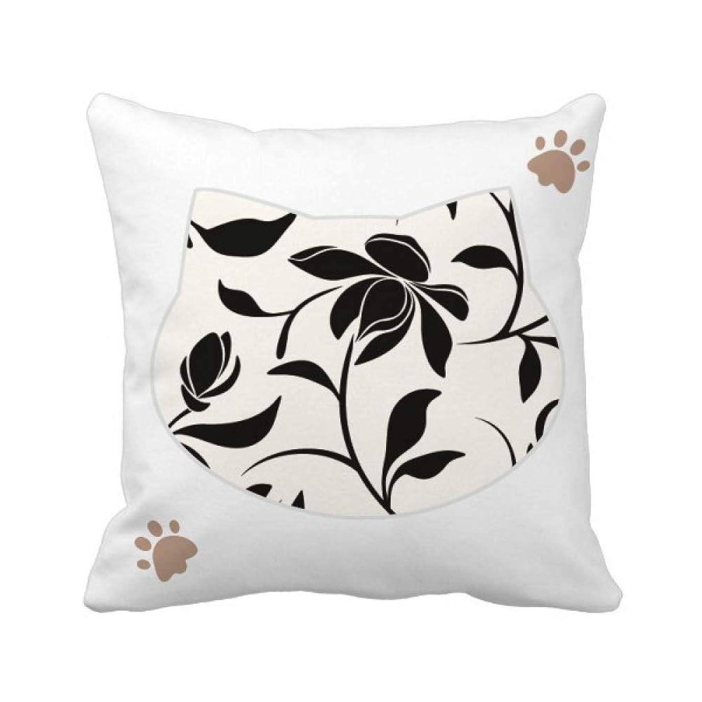パッチ三触覚花のつる植物を描くアート 枕カバーを放り投げる猫広場 50cm x 50cm