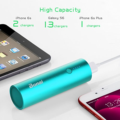 Portable Charger, BONAI Power Bank 5000mAh, (Ultra-Compact)(Aluminum)(Travel) Slim External Backup Battery Pack High-Speed Output Compatible iPhone,iPad,iPod,Samsung - Mint(Charging Cable Included)