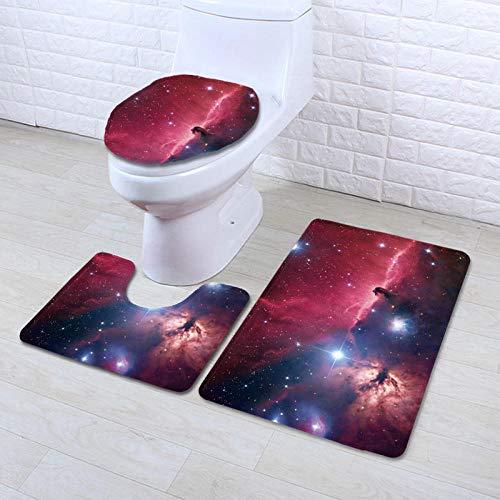 DLSM oria baño de Secado rápido Deslumbrante Espacio de Color patrón de Nebulosa impresión 3D Moderno Minimalista Inodoro doméstico baño de Tres Piezas Alfombra antideslizante-C10