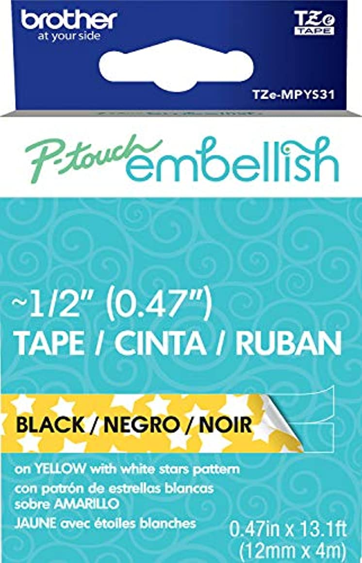 Brother International Brother P-Touch Embellish Black Print on Yellow Stars Patterned Tape TZEMPYS31,