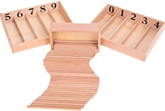 Wooden Number Puzzle, Montessori Wooden Spindle Rods Box Kids Baby Early Learning Educational Toy