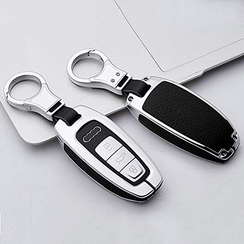 ontto Autoschlüssel Hülle für Audi A6 A7 A8 RS6 S6 RS6 A7 Q7 Q8 A6L A8L SQ7 SQ8 2018 2019 2020 Fernbedienung Cover Zinklegierung Schlüsselhülle Schlüsselanhänger Schlüssel Schutz Etui-Silber schwarz