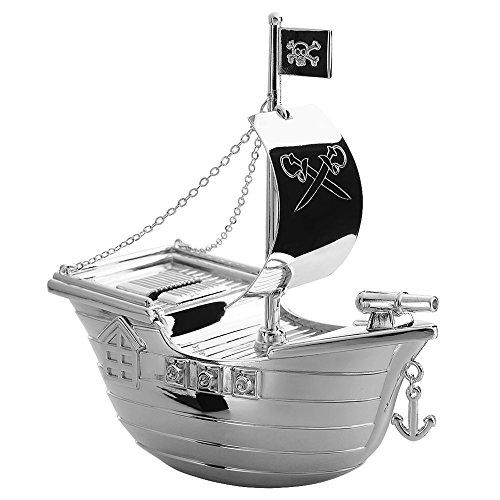 EDZARD Spardose, Sparbüchse Piratenschiff, edel versilbert mit Anlaufschutz, Höhe 15 cm