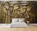 Carta Da Parati 3D Elefante In Rilievo Dorato 3D Foto Murale Moderna Fotomurali Decorazioni