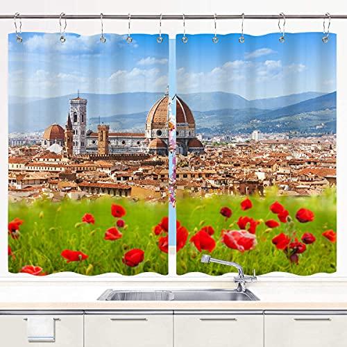 JISMUCI Cortina de Cocina Florencia, Duomo y Campanile de Giotto Juegos de Tratamiento de Ventanas Cortinas 2 Paneles con Ganchos,140x100CM