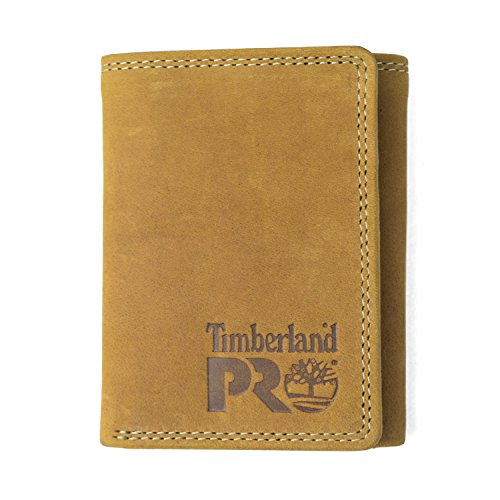 Timberland PRO Men's Leather RFID Trifold Wallet with ID Window, Wheat/Pullman, One Size