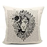 Moon Star Sun CelestialLion MandalaPillow Case, Lion Decor, for Astrology Lovers, Gift for Daughter, 18X18 Inch Linen Cushion CoverLion Decoration for Sofa Couch