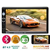 Double Din Car Stereo in-Dash Head Unit Compatible with Bluetooth 7 inch Touch Screen with Rear-View Camera Video MP5/4/3 Radio FM Car Radio Receiver Mirror Link Caller ID