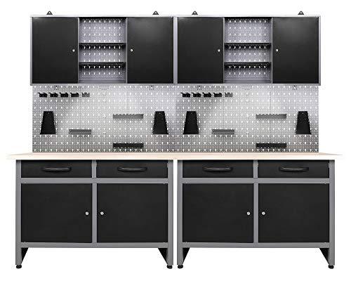 Ondis24 Werkstatteinrichtung 6-teilig Werkbank Werkzeugschrank Werkzeugwand/Lochwand mit Haken + 2X...
