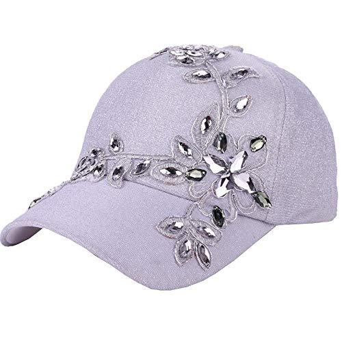 VECOLE Run Cap Fashion Strass Flower Baseballmütze Faltbare, verstellbare für Draussen, Sport und Reisen(Weiß)