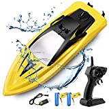 RC Boat Remote Control Boats for Pools and Lakes, ArgoHome S5B 10km/h High Speed Boat Toys for Kids Adults Boys Girls(Yellow)