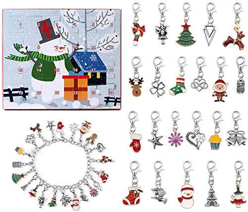 Herbests Schmuck Adventskalender,Weihnachtskalender Schmuck Adventskalender,24 Überraschungen Armband Weihnachten Geschenk,Mädchen Damen Kinder DIY Armband Halskette Set